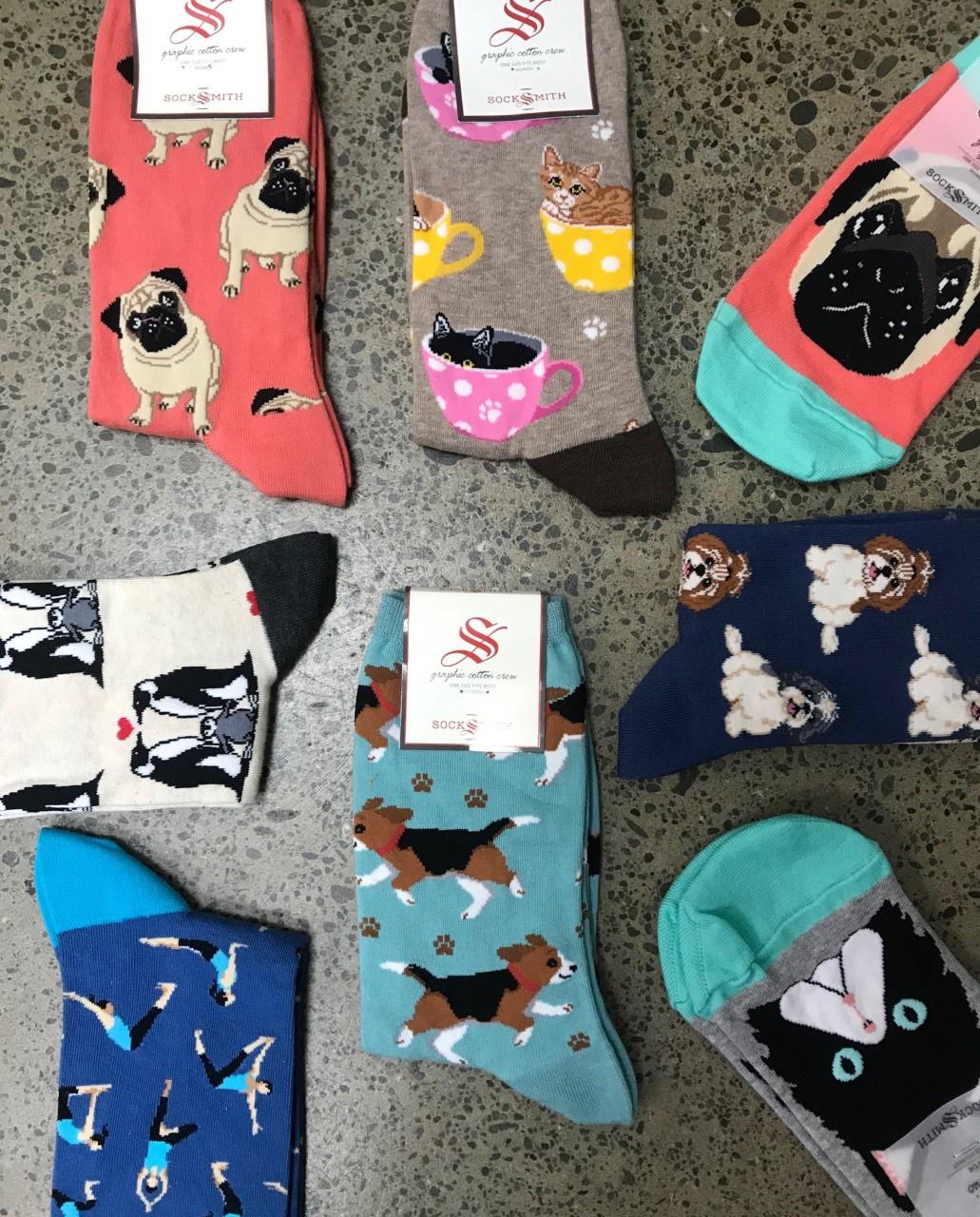 Charcoal French Bulldog Dog Socks SockSmith Cotton Womens