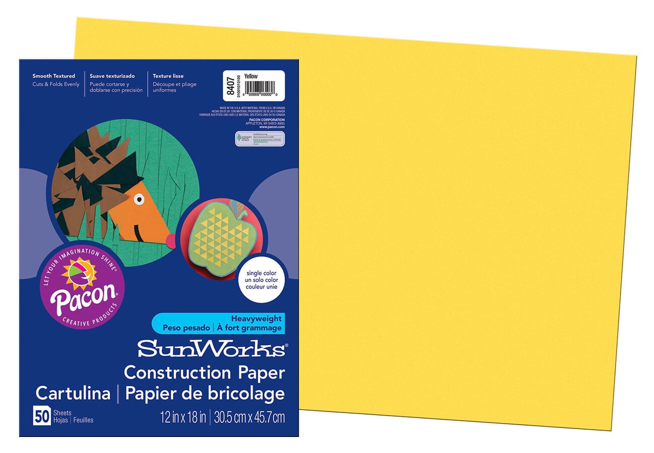 PA 8407 CONSTRUCTION PAPER 12 X 18 YELLOW