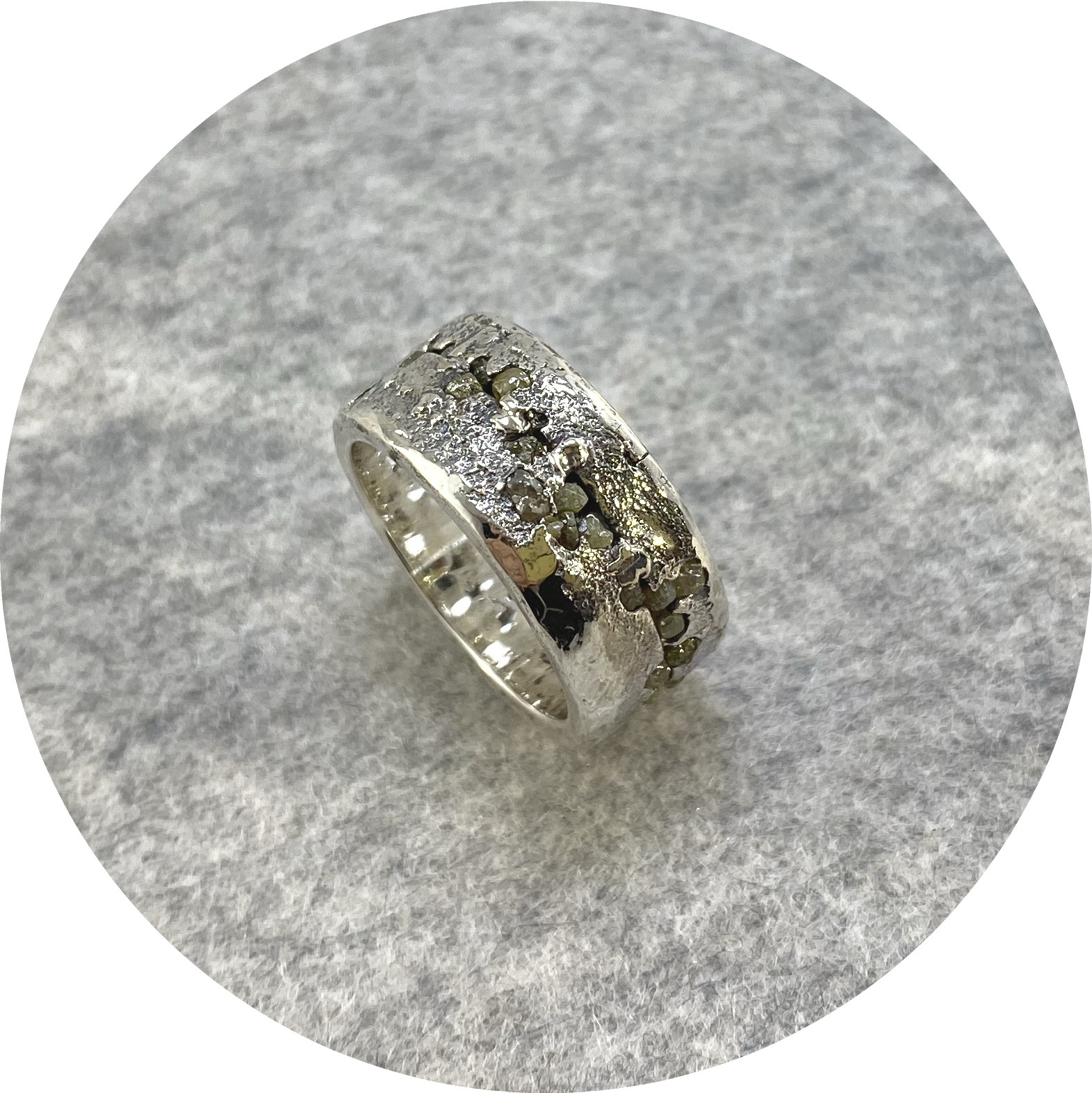 Kirra-Lea Caynes- Rough diamond ring in sterling silver.  size  P1/2