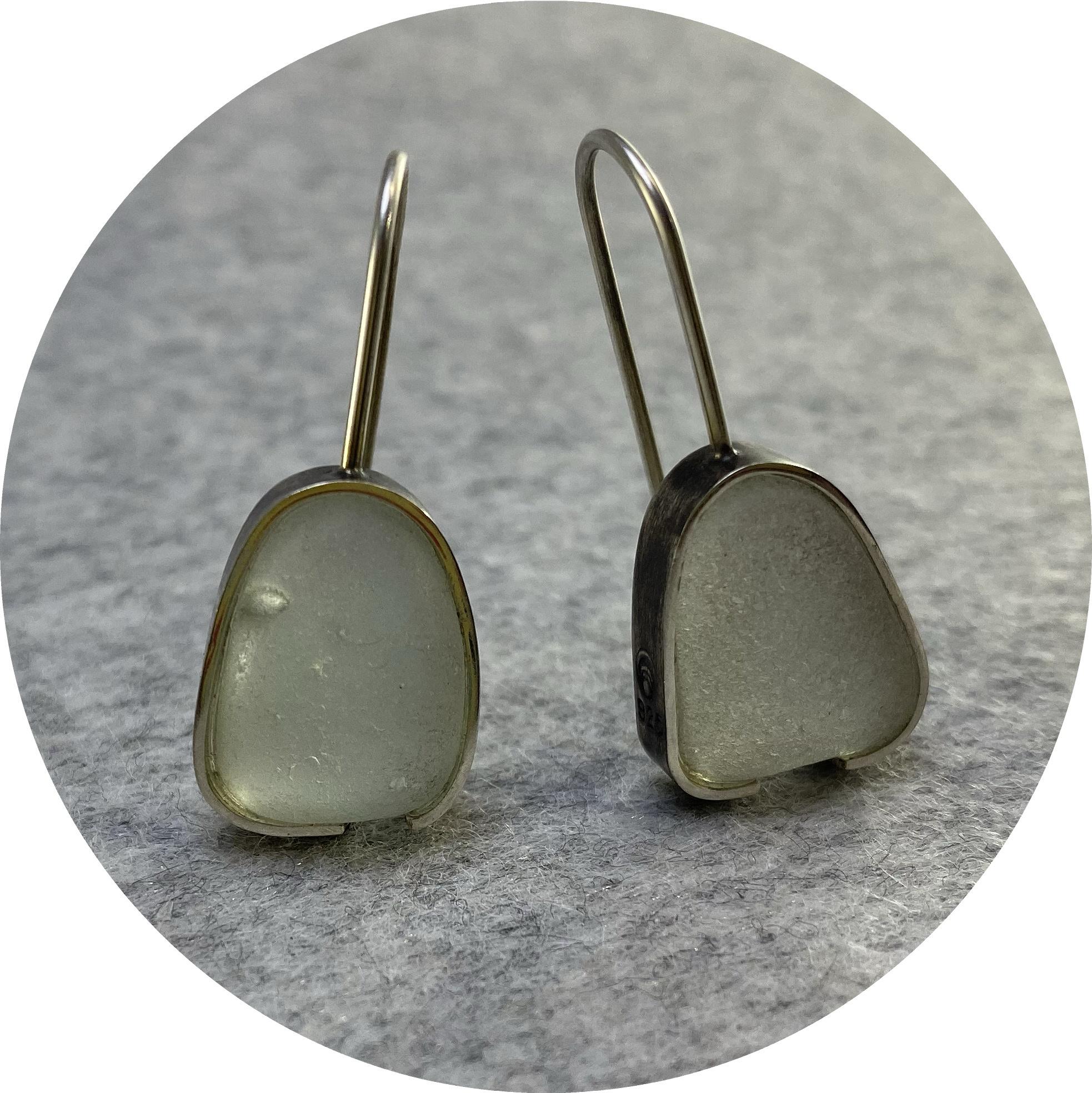 Susan Ewington - 'Pale Seafood Beach Glass Earrings', 925 silver, glass