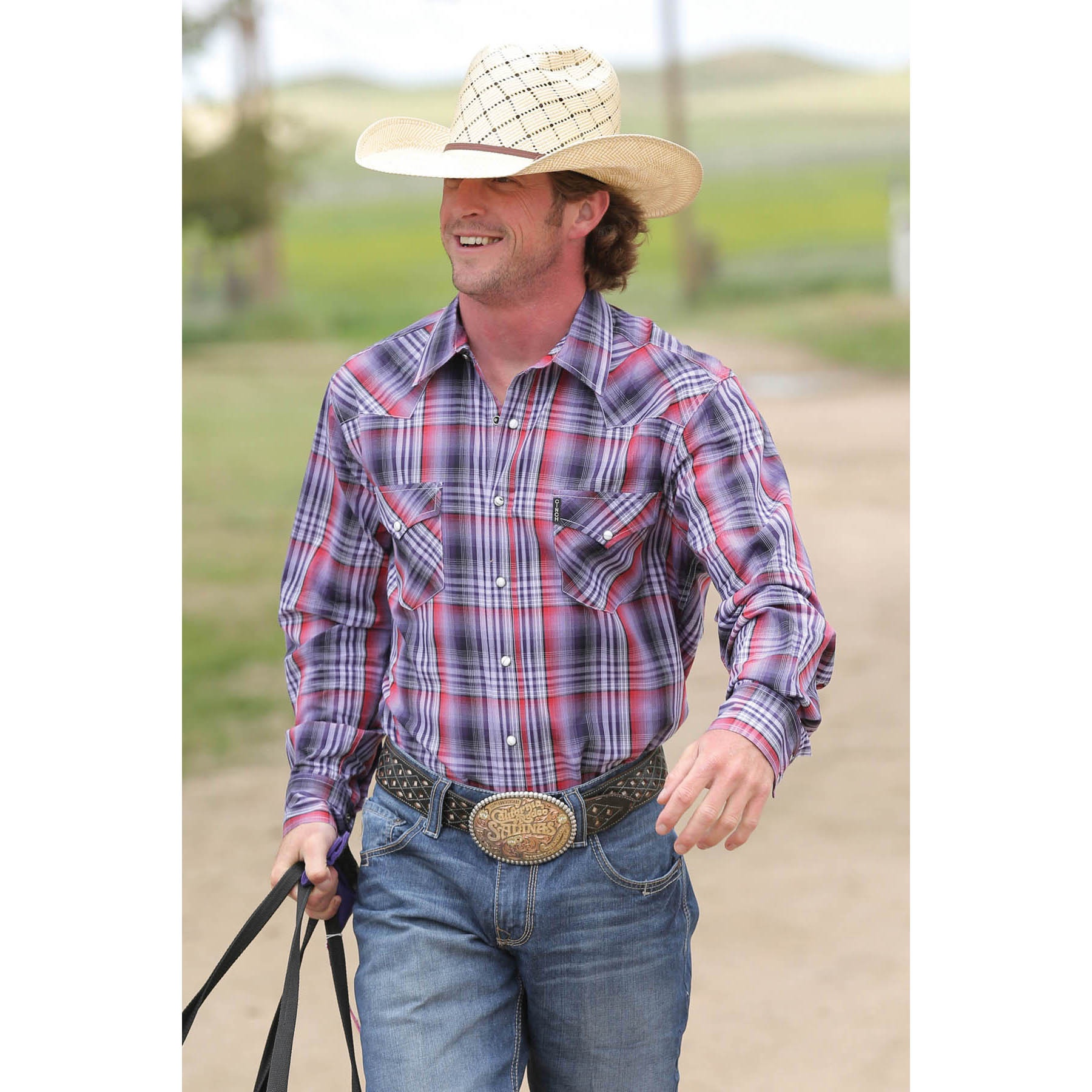 9a7171e3629 Cinch Men s Modern Fit Long Sleeve Shirt  Ryese  Purple Plaid Double  Pockets And Snap Buttons CLEARANCE!!