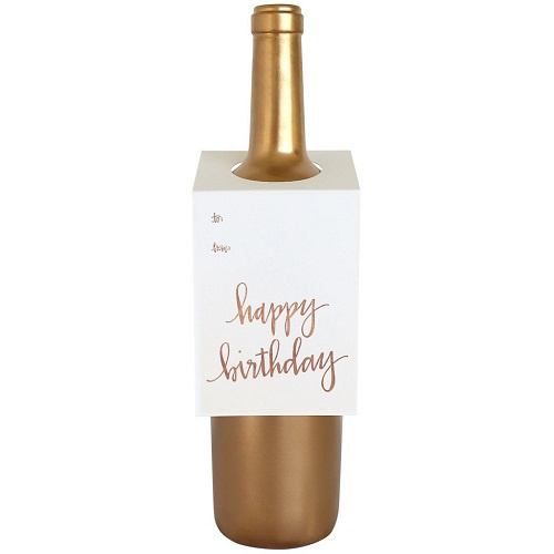 Happy Birthday Wine Tag | Rose Gold