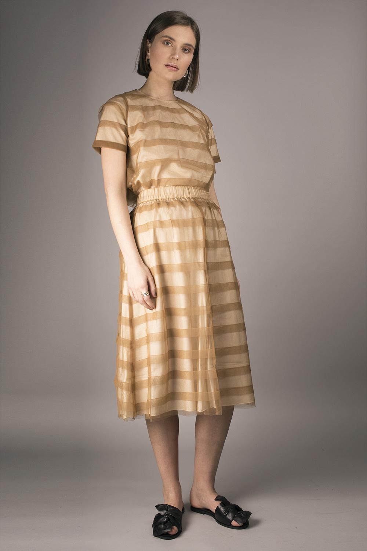Cathrine Hammel - Striped Midi Tulle Skirt Image
