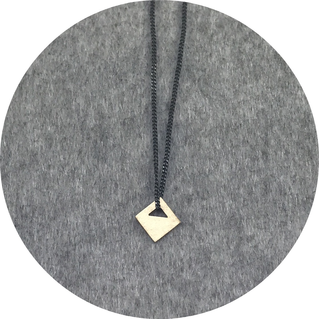Cass Partington- Tab Pendant. 18ct yellow gold on 45cm oxidised sterling silver chain.