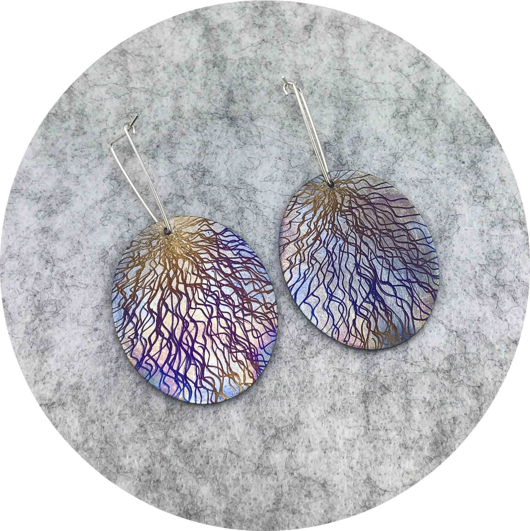 Tanja Von Behrens - Large Drop Oval Lighting Storm Earrings in Sterling Silver and Heat Coloured Titanium.