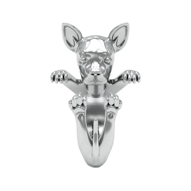 Chihuahua Sterling Silver Hug Ring