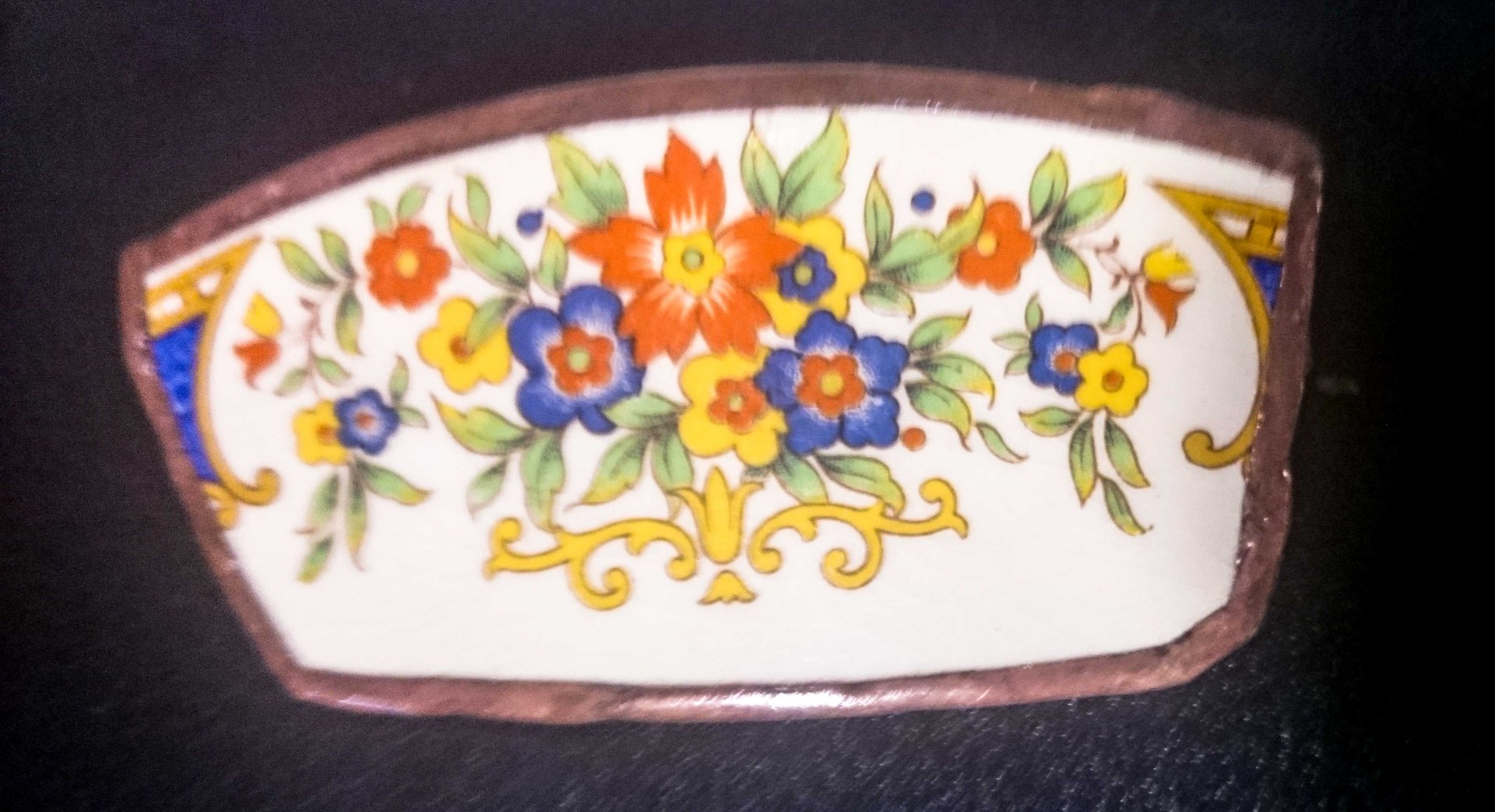Large Orange Flower China brooches