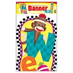 X T 25076 SOCK MONKEY WELCOME BANNER