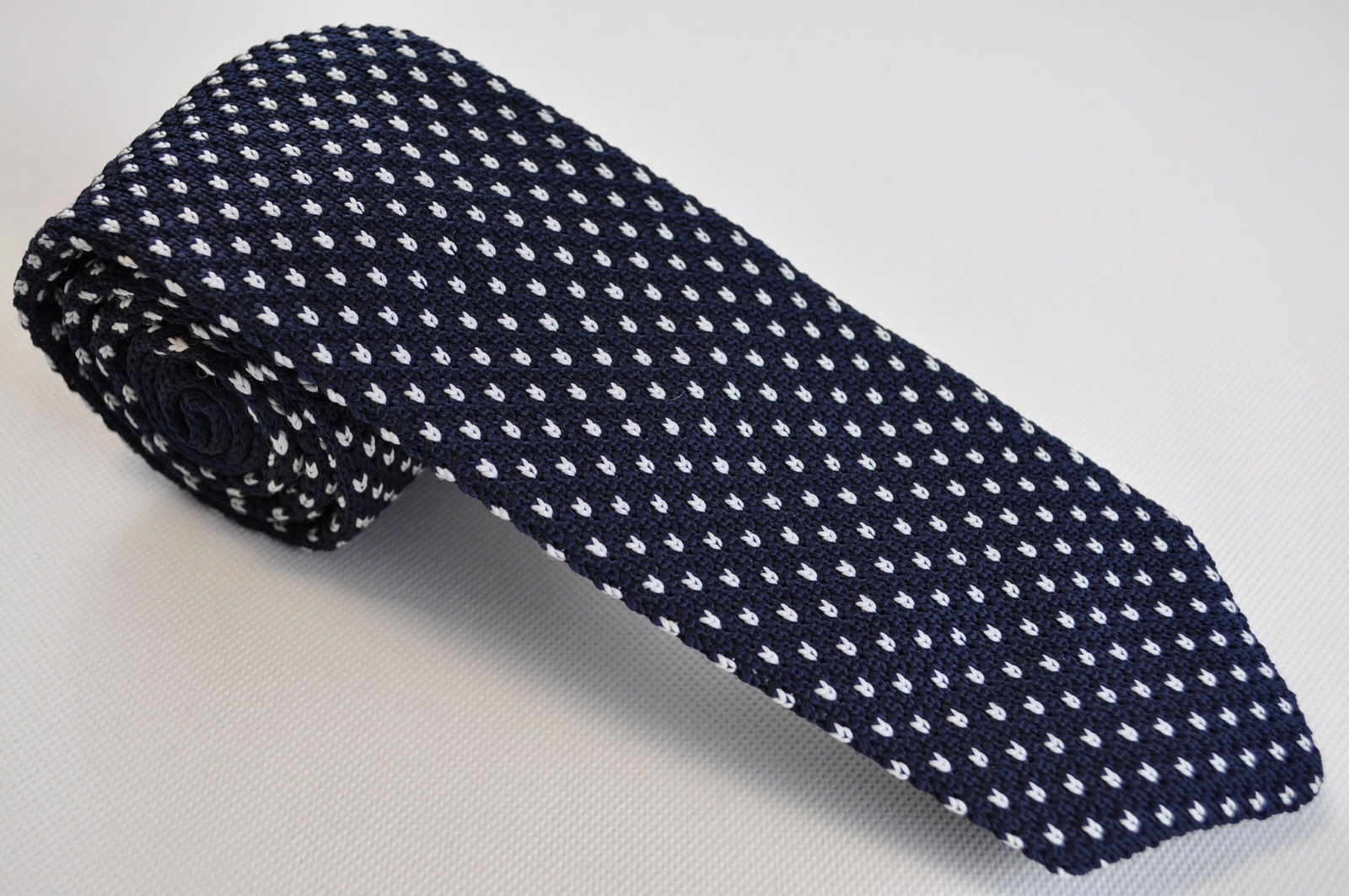 TCPA-110, Navy-White Knitted Tie | Classic Pattern Ties | Suits District