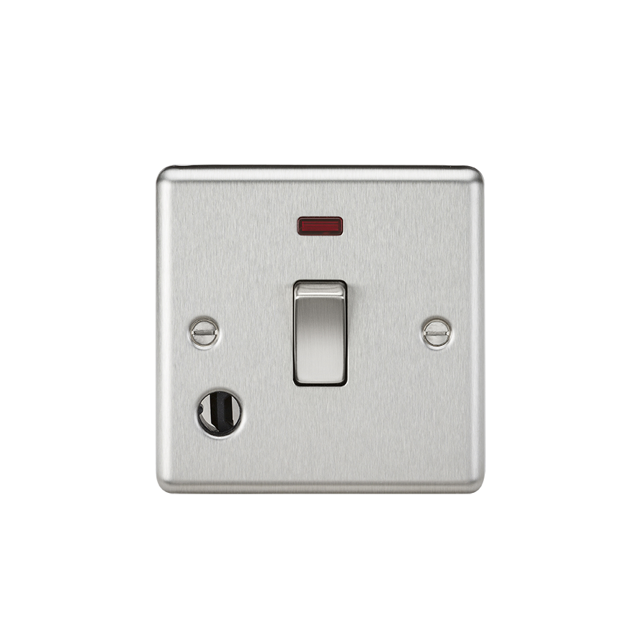 20A 1G DP SWITCH W/NEON & FLEX OUTLET - ROUNDED EDGE BRUSHED CHROME