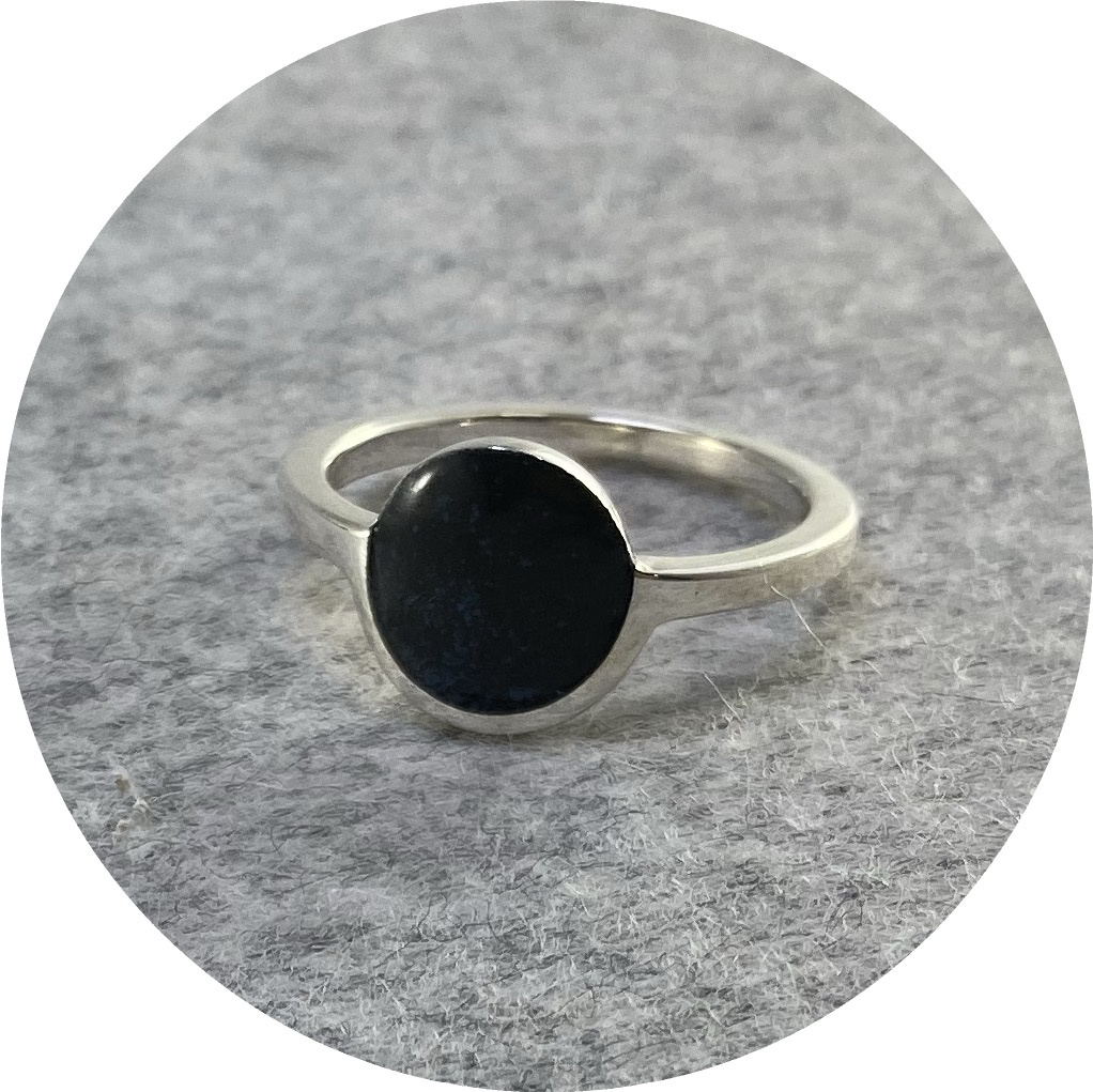 Danielle Lo - Black Sunrise Ring in Sterling Silver and Enamel