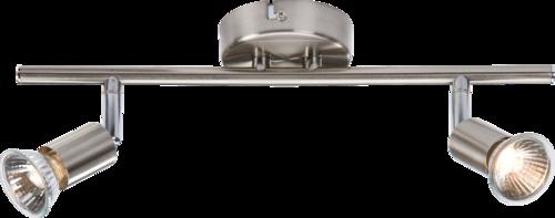 230V GU10 Twin Bar Spotlight- Brushed Chrome