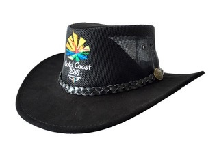 Black Summer Breeze Cow Suede and Mesh Hat Image