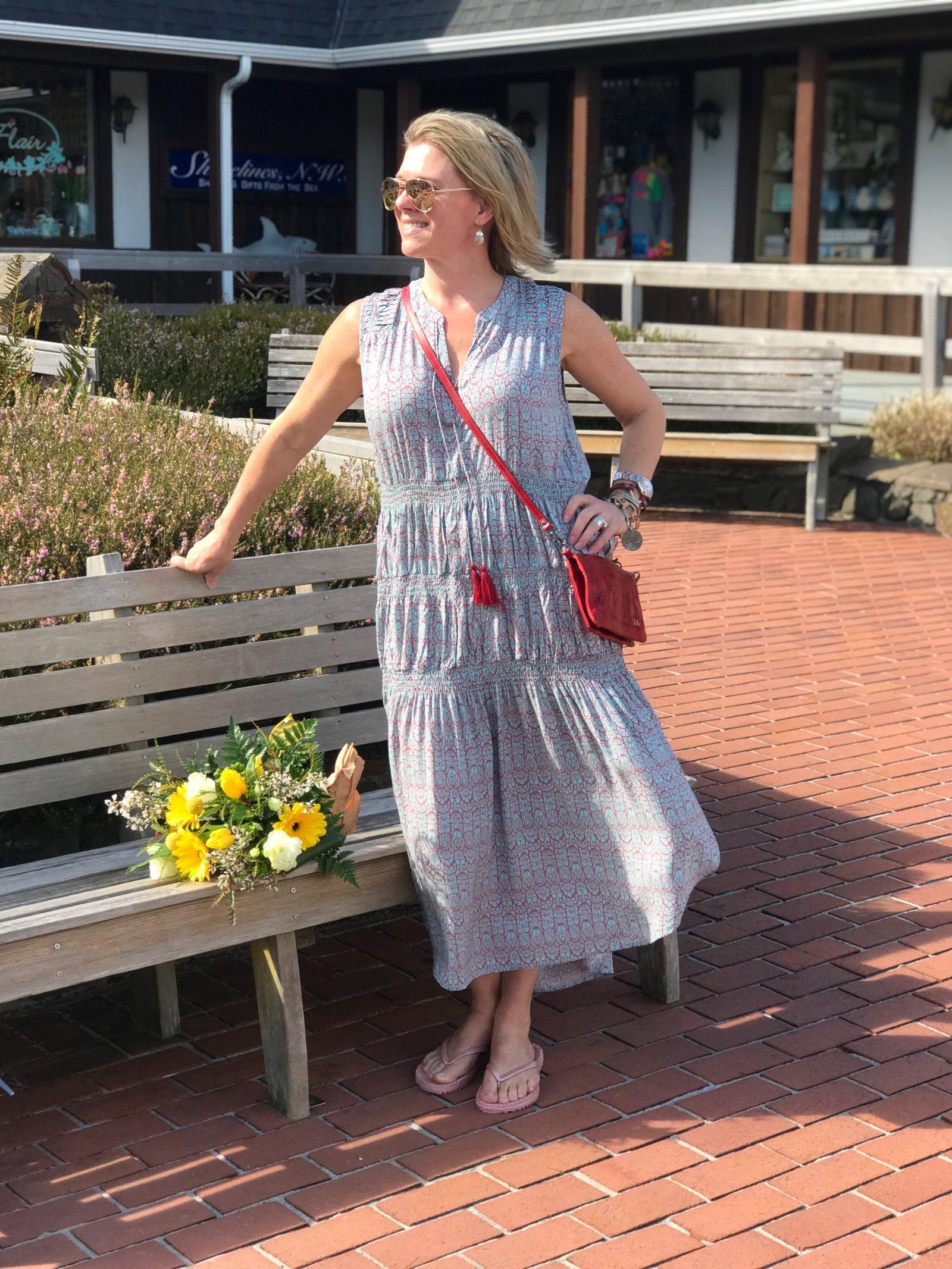 My- Pintuck Shoulder Tassel Tie Neck- Dress
