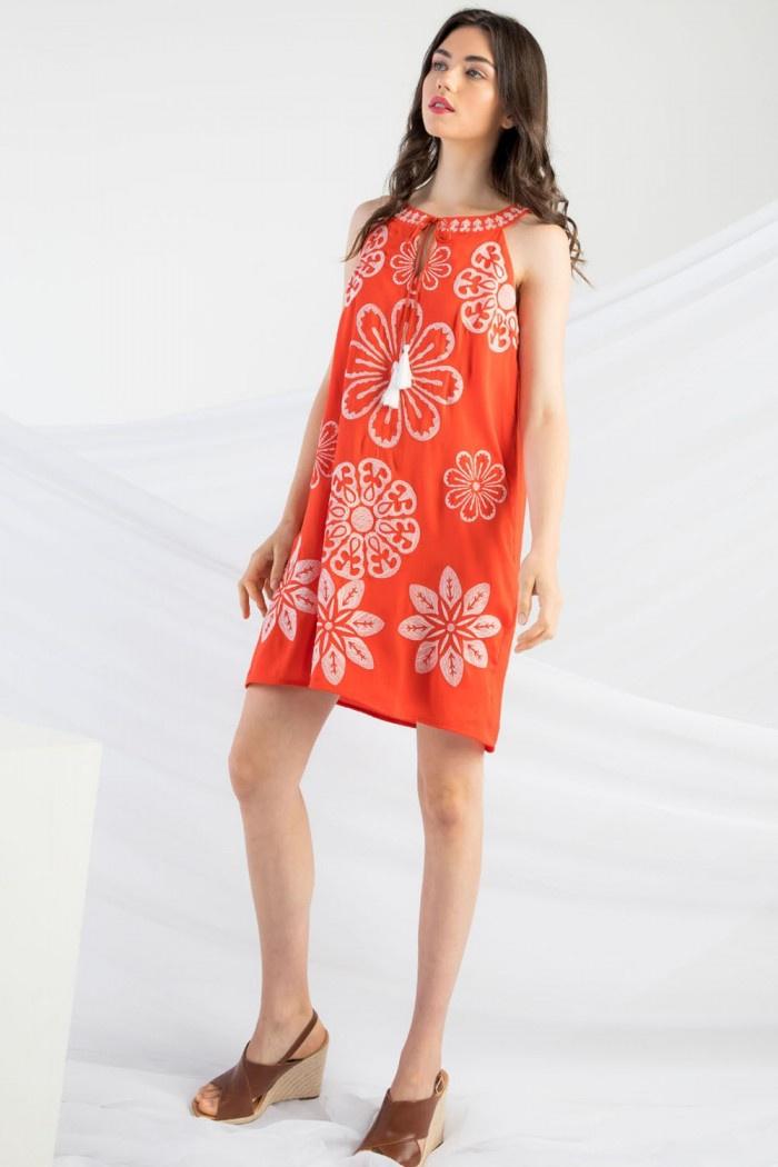 THML-Embroidered Halter/ Midi  Dress