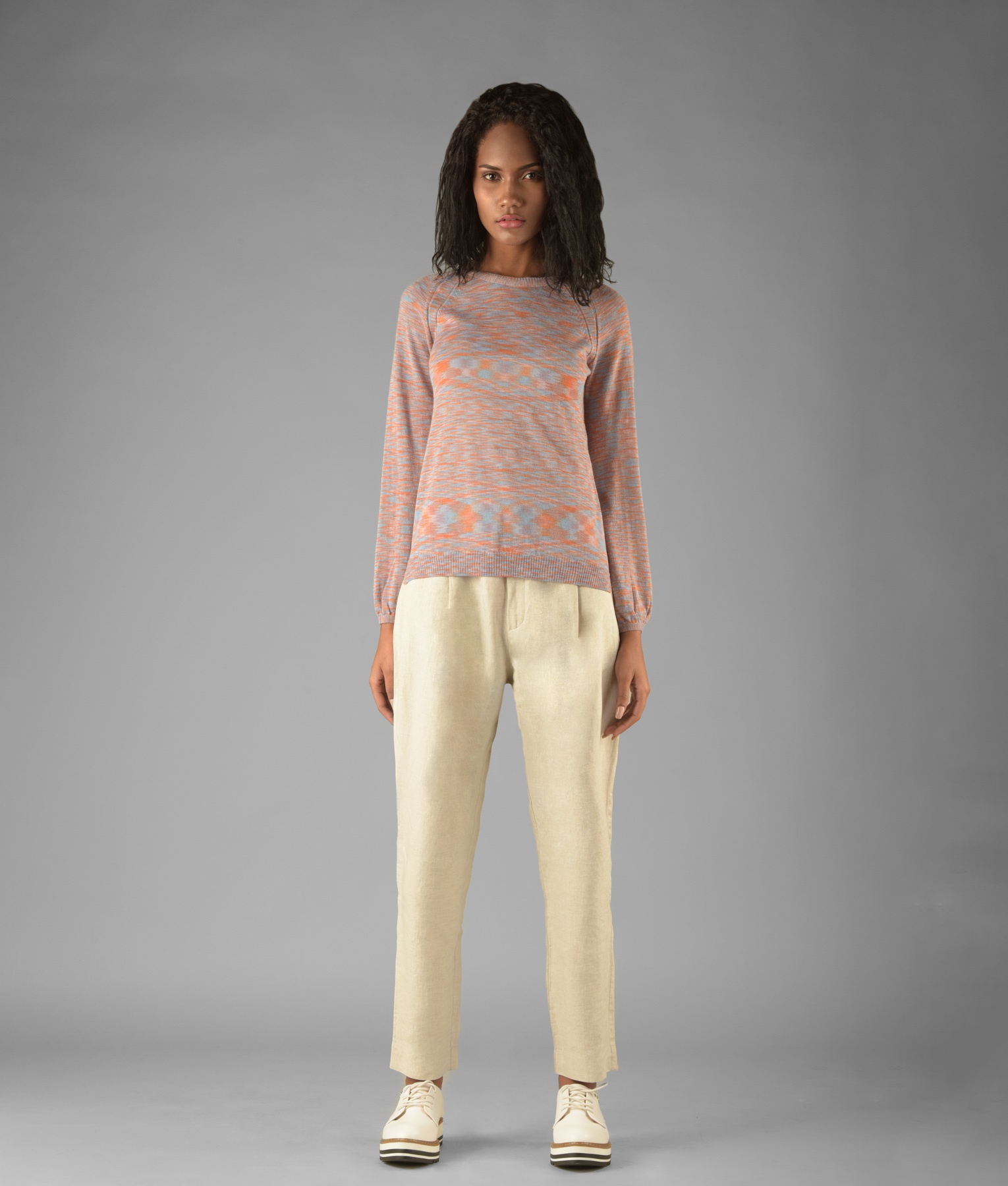 FULLY FASHIONED GATHERED SLEEVE PULLOVER 4TM977
