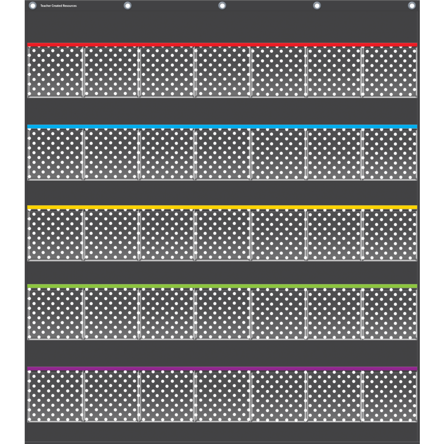 TCR 20750 BLACK POLKA DOT STORAGE POCKET CHART