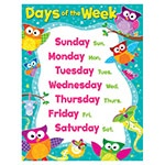 X T 38447 OWL STARS DAYS OF THE WEEK CHART