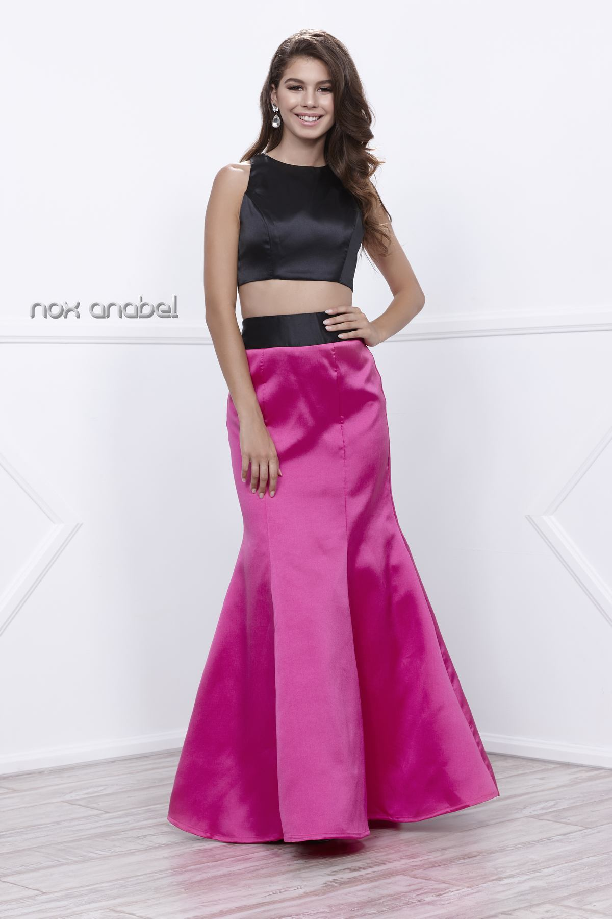 d39c6962b47d Two Piece Crop Top with a Fuchsia Bustle Skirt | Barbara's Boutique