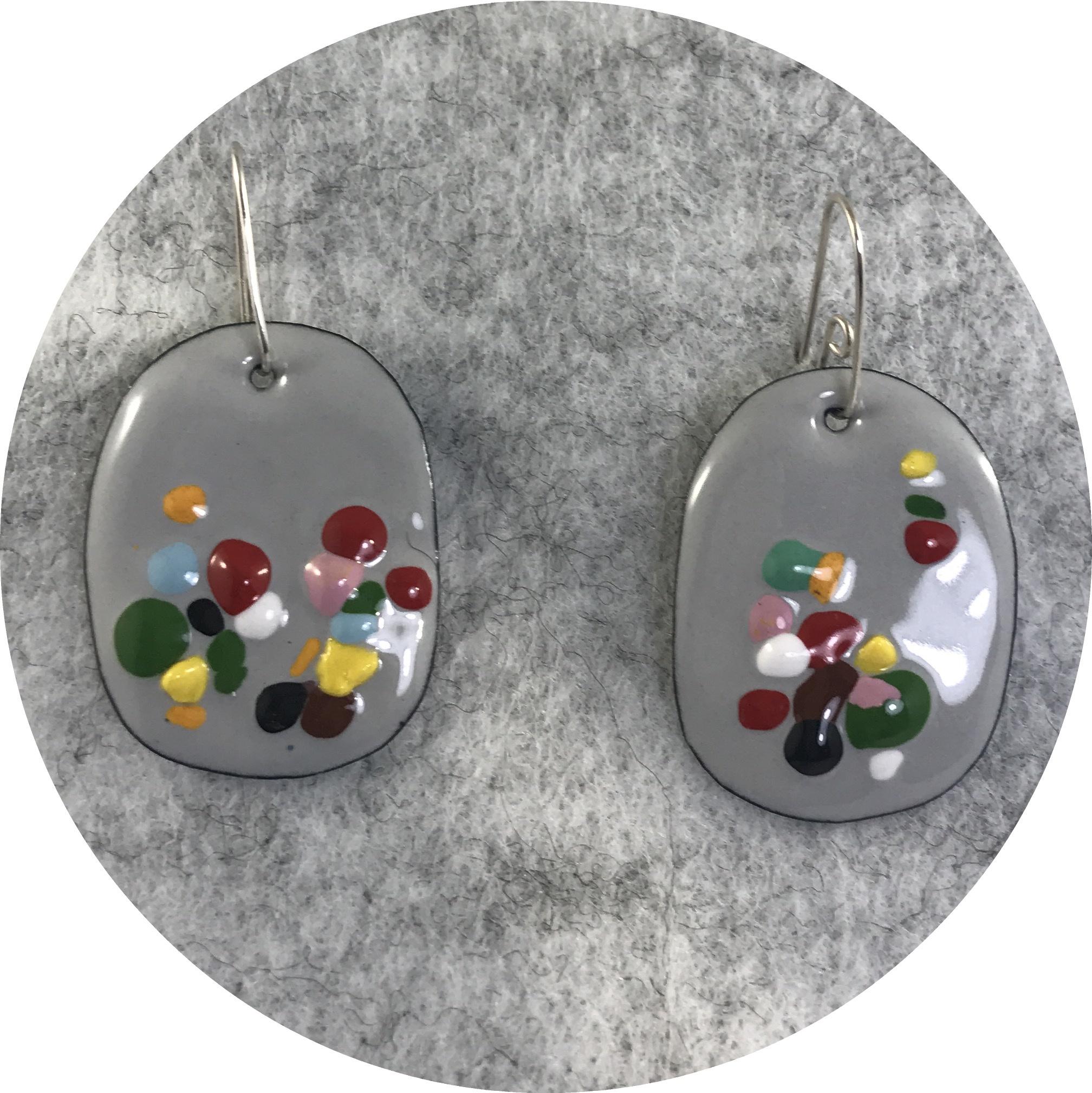 Jenna O'Brien- Queenie Grey Medium earrings. Enamel and sterling silver.