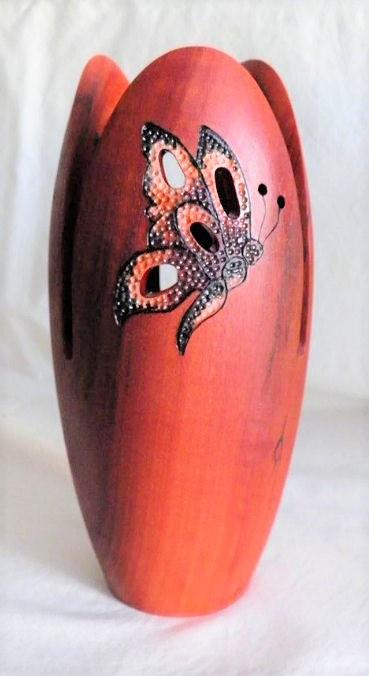 Butterflies - wooden sculpted Vase