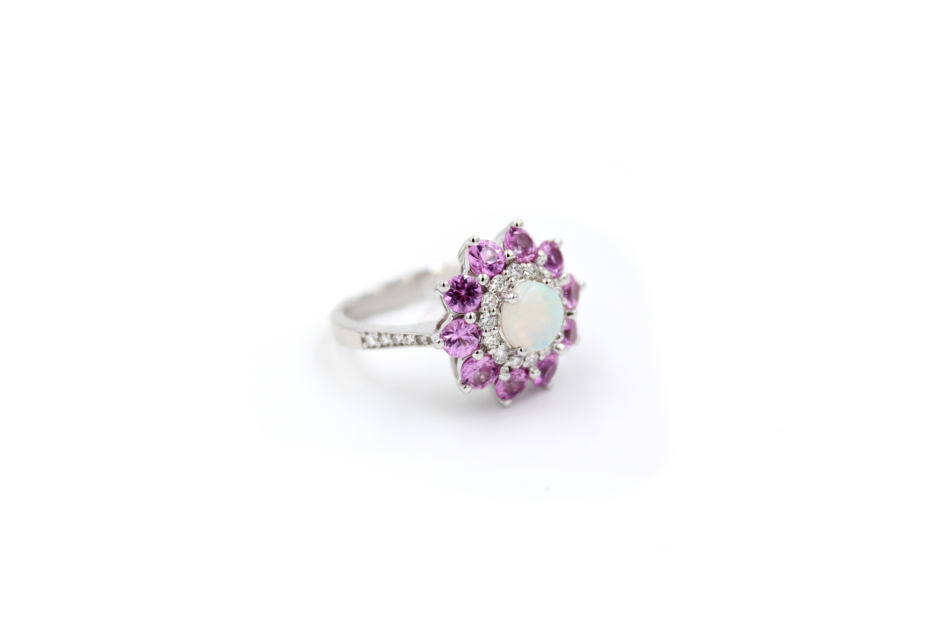 Pink Sapphire Opal And Diamond Flower Ring