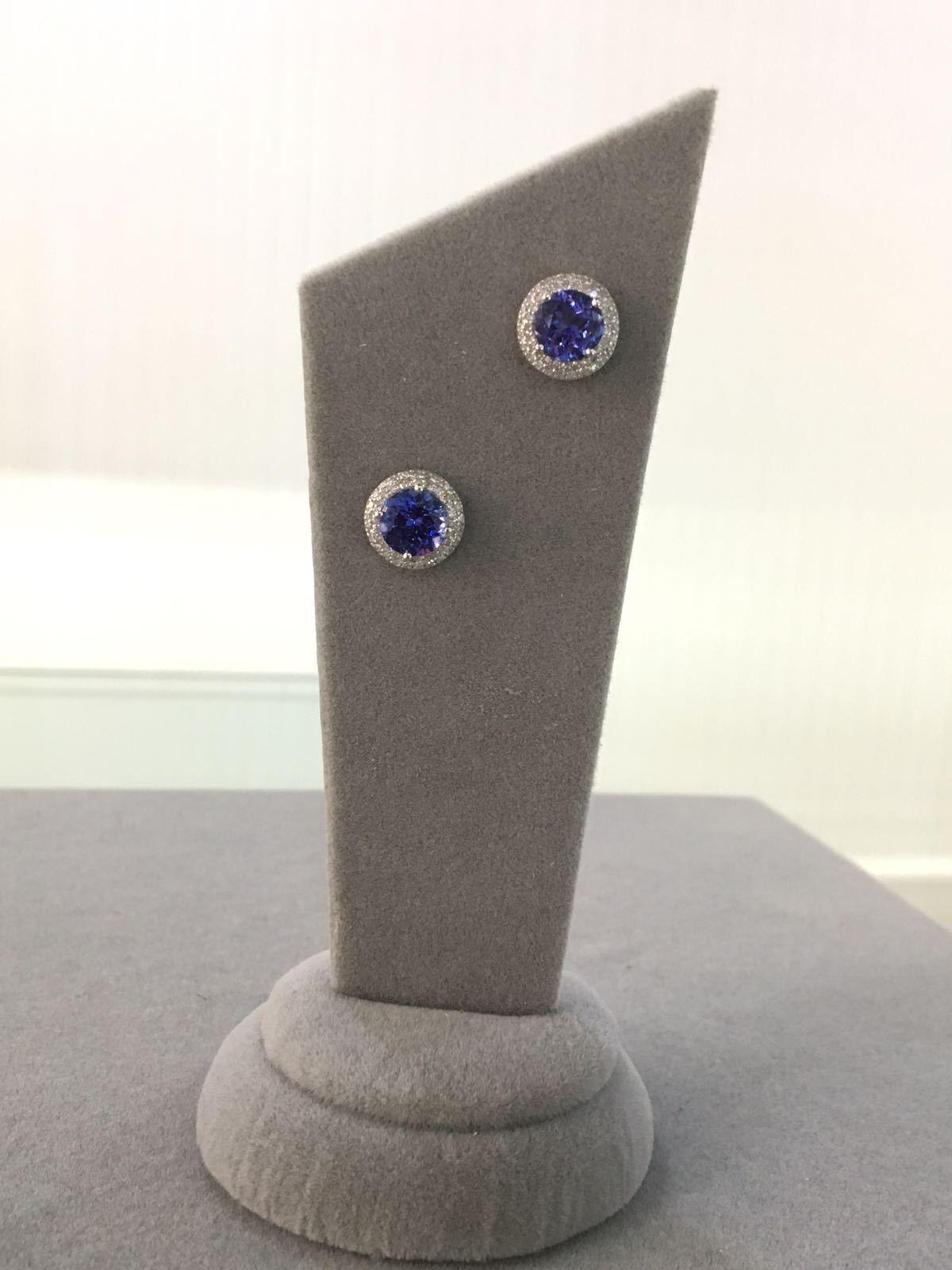 White Gold Diamond & Tanzanite Earrings