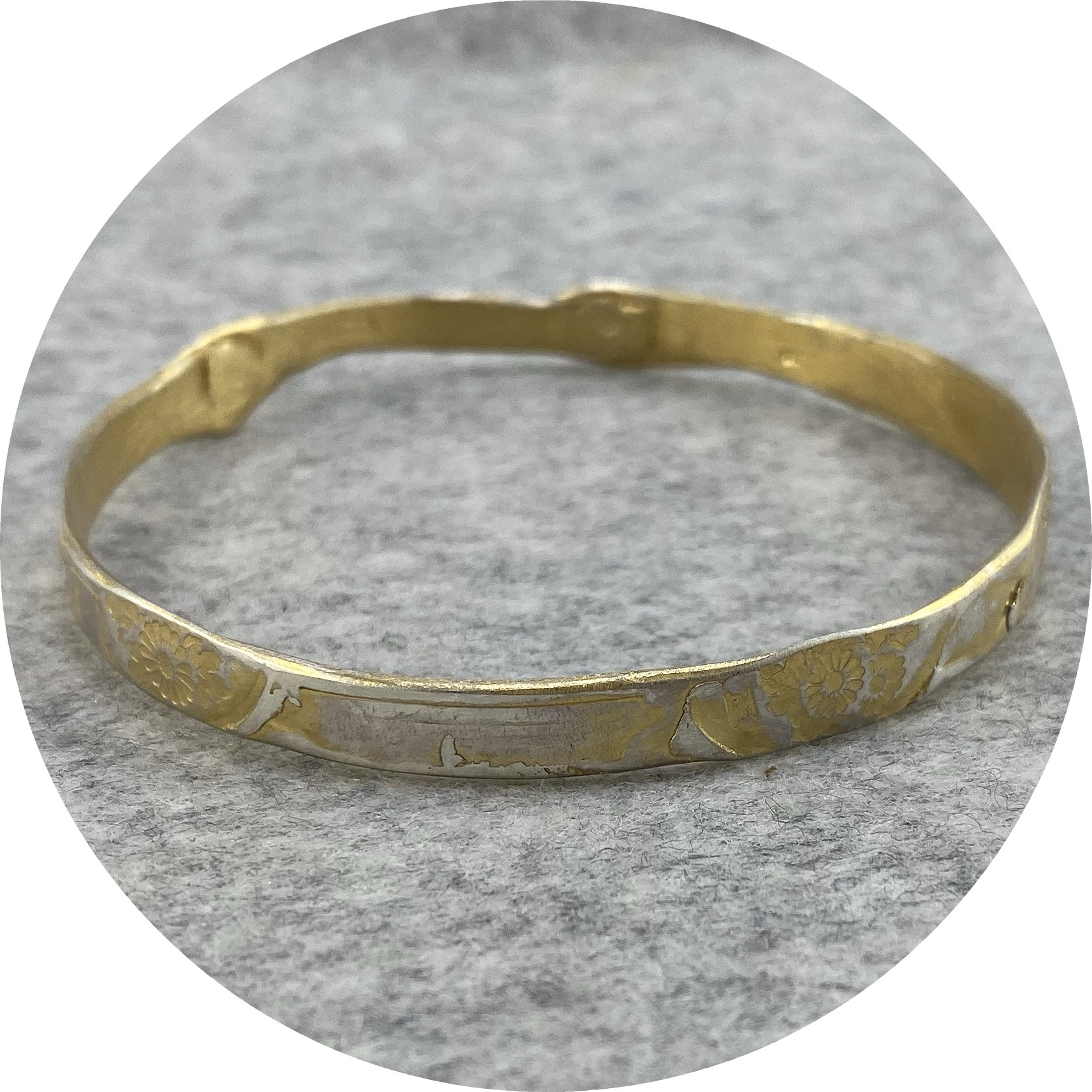 Claire Taylor - 'Yellow Flower Bangle', 925 silver, yellow gold plate