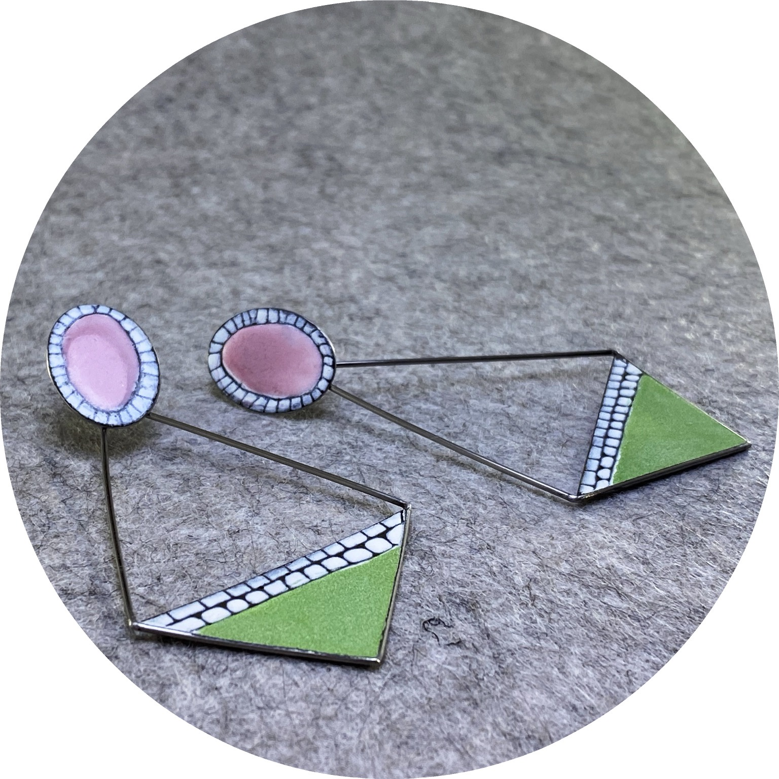 Sarah Murphy- Pendulum earrings. Pink, white & green enamel on stainless steel.