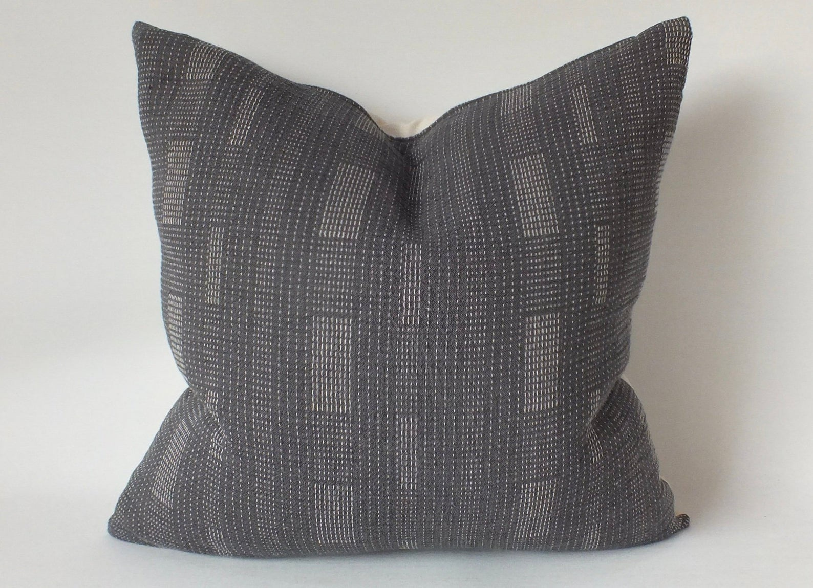 Grey & White Cotton Pillow