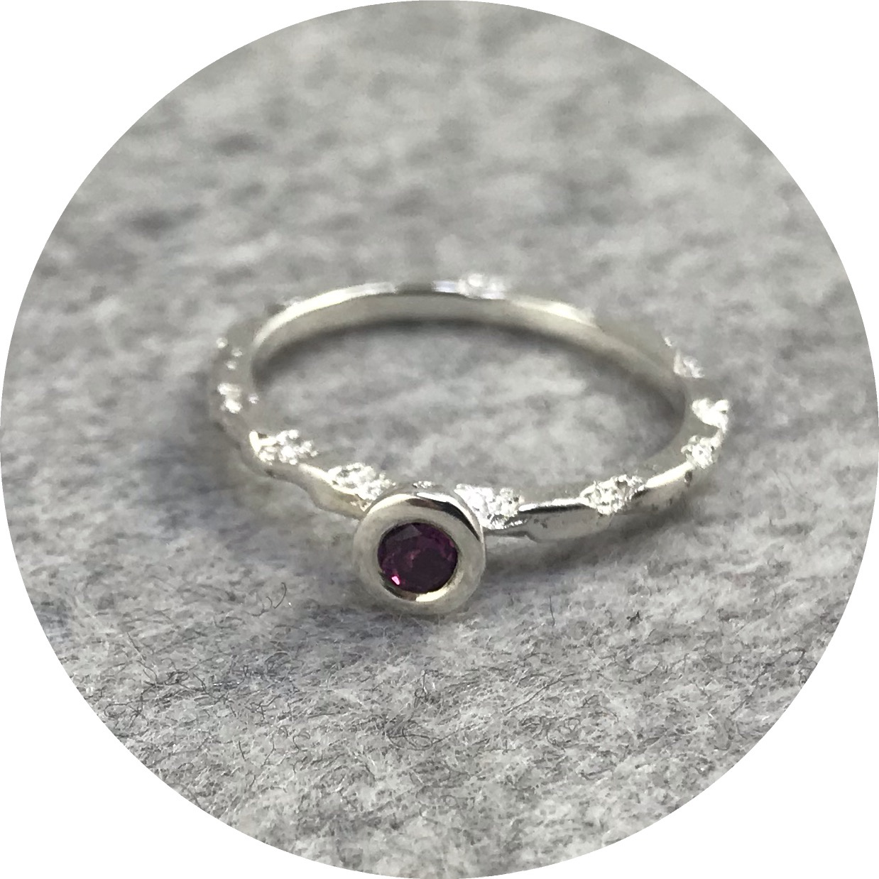 Albert Tse - Crater 1.5mm Sterling Silver Ring with a 3mm Purple Garnet