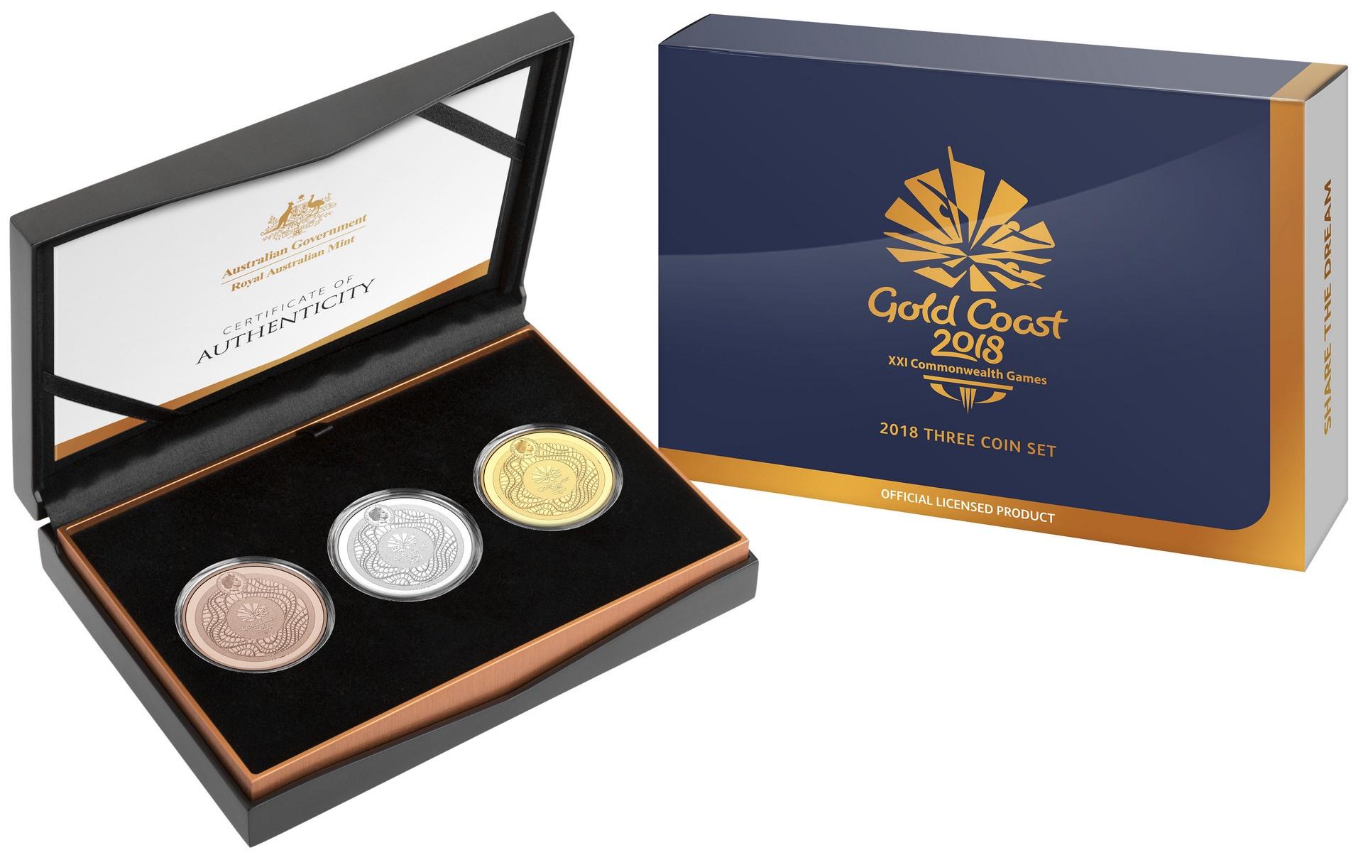 XXI Commonwealth Games Three Coin Set