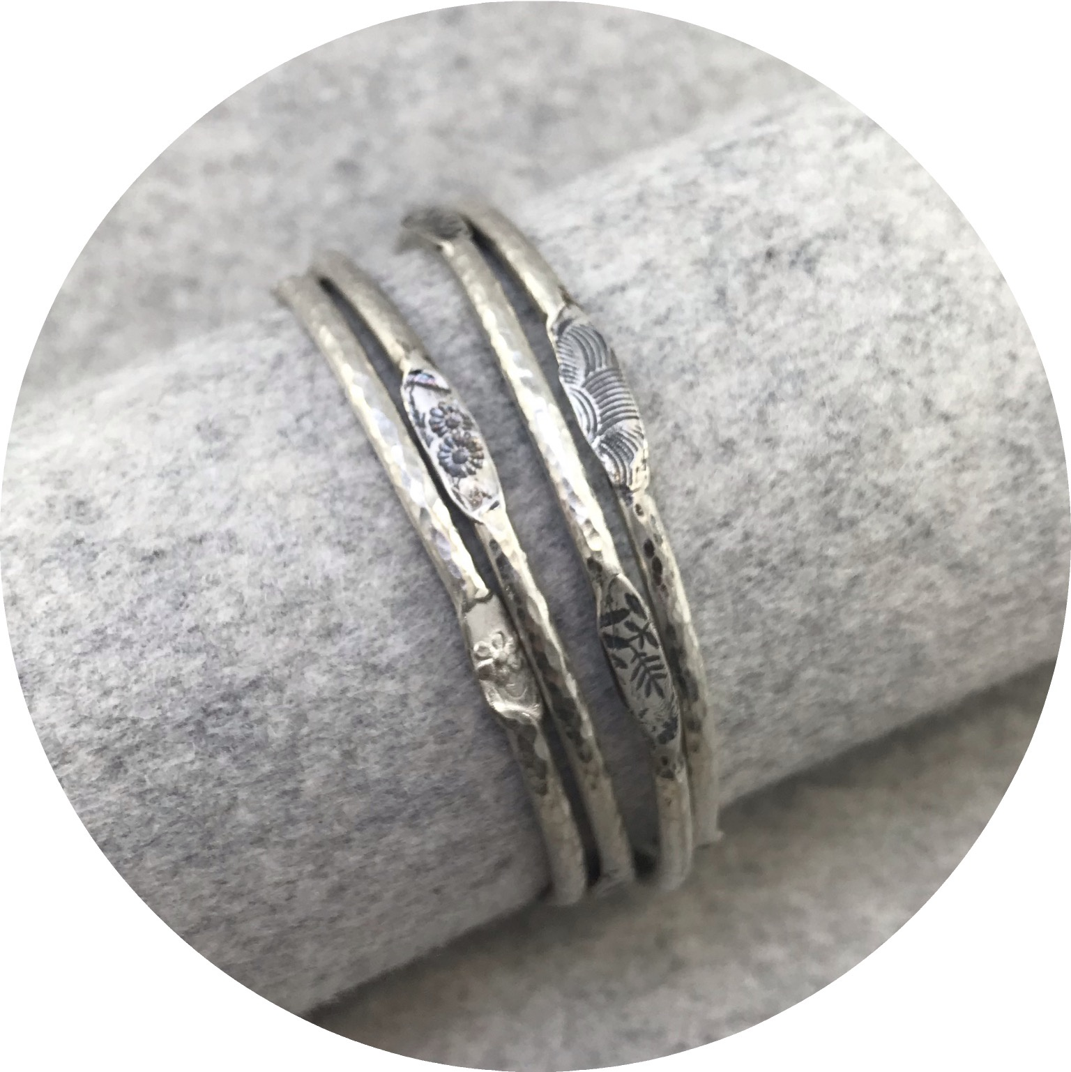 Claire Taylor - 'Stacking Bangle Silver Pattern', 925 silver