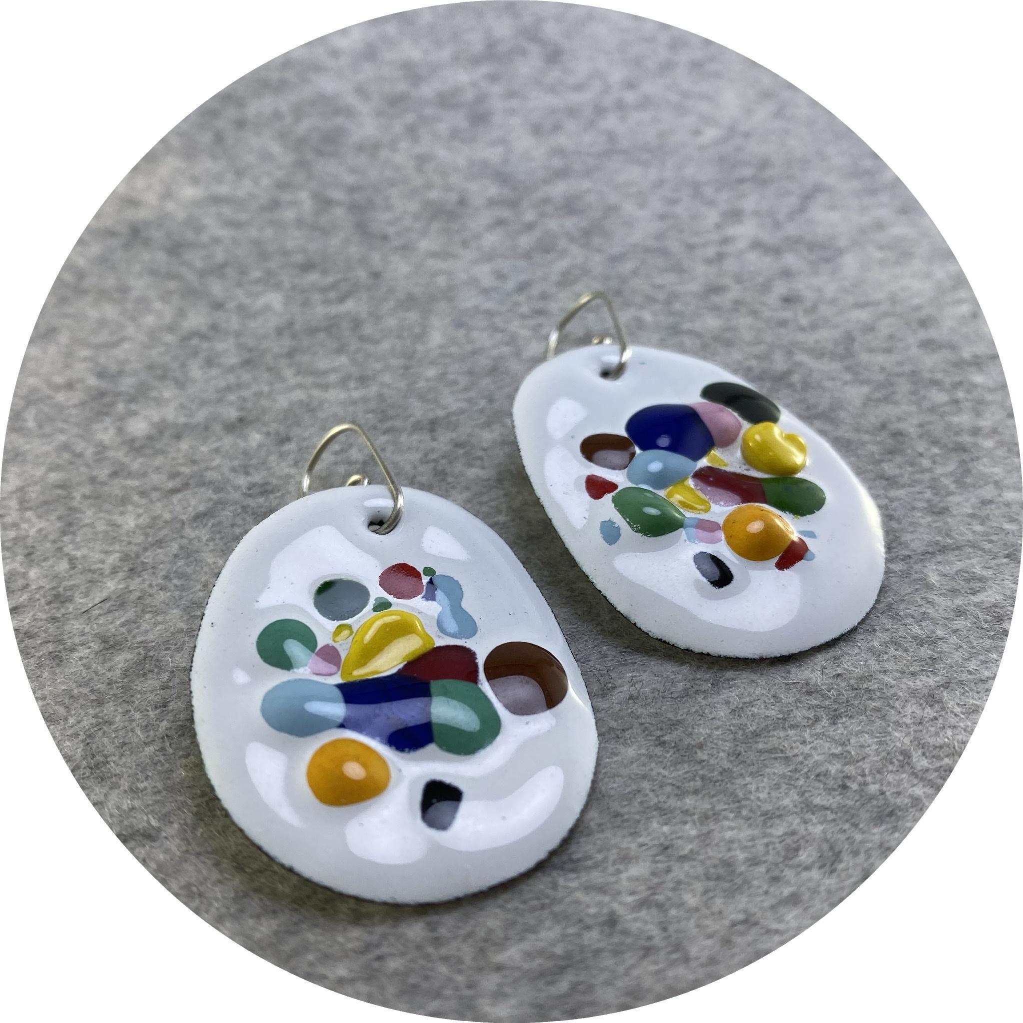 Jenna O'Brien - 'Small Queen Earrings', copper, enamel, 925 silver