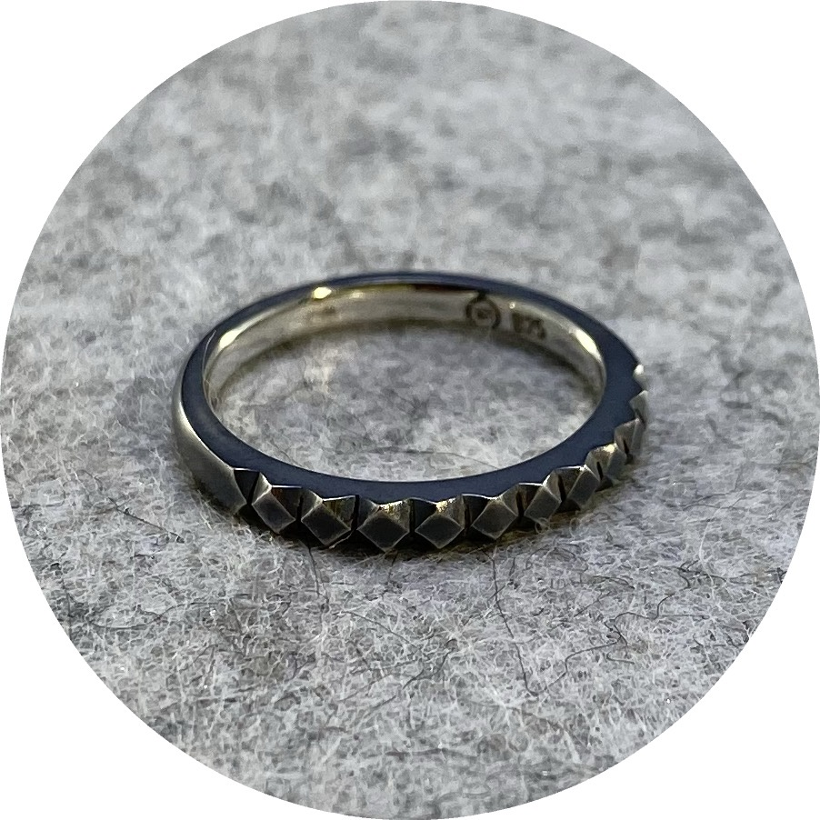 Eli Speaks- Mexicali ring in oxidised sterli ng silver. size I