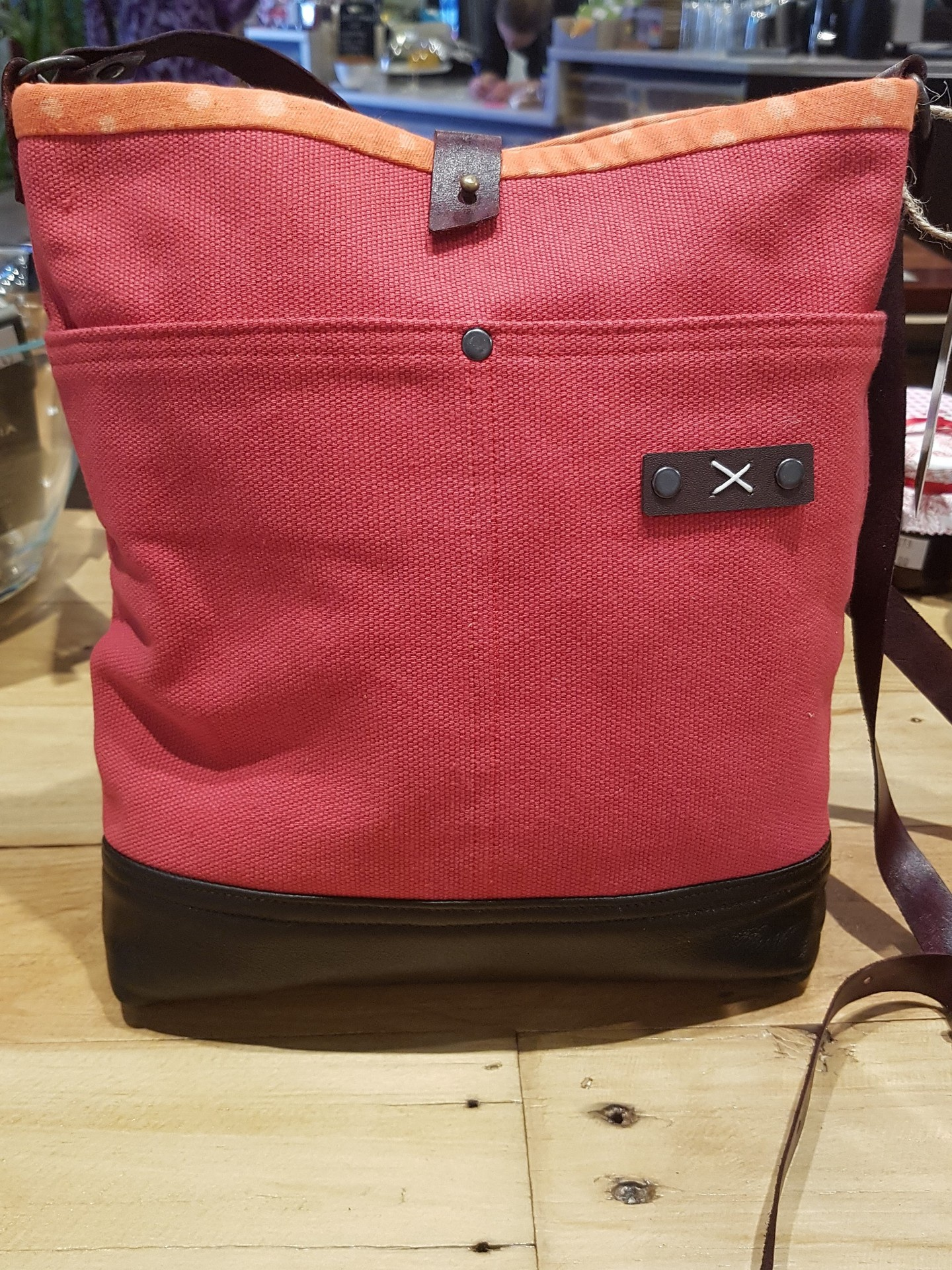 Red Cross Body Bag- Recycled Leather and Canvas