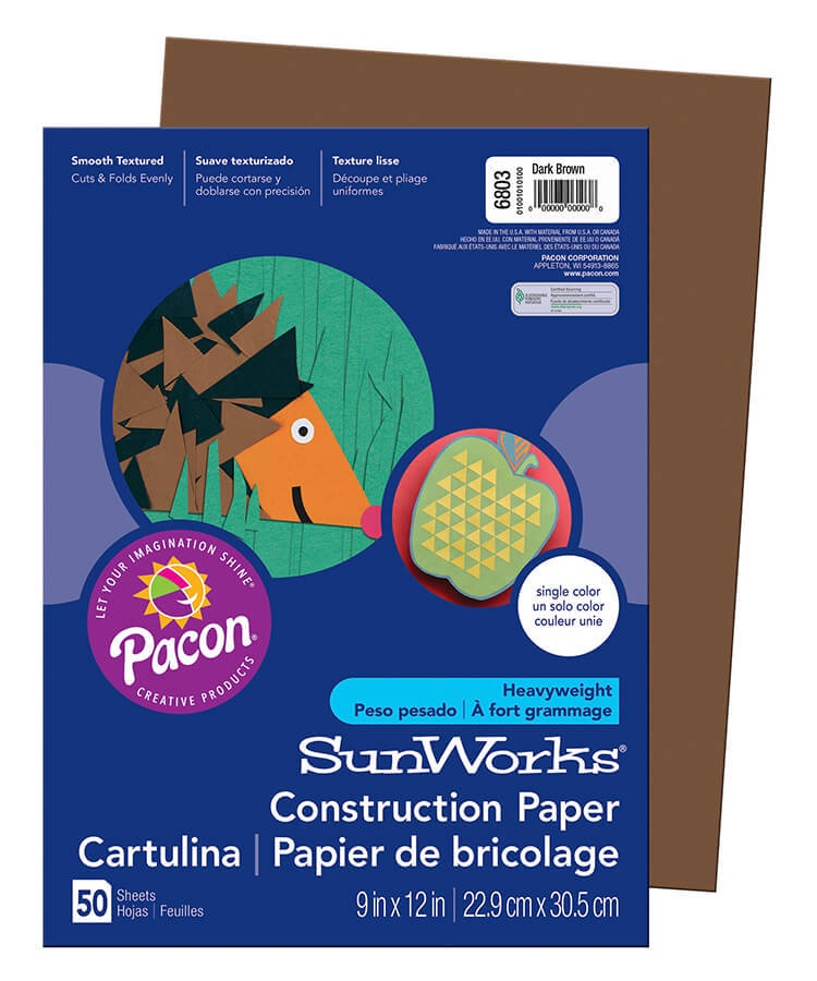 PA 6803 CONSTRUCTION PAPER 9 X 12 DARK BROWN