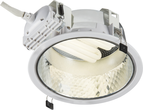 Recessed 230mm Single PL Downlight 1x18W (cut out 205mm) with Gearbox and Ballast and 200mm Flex
