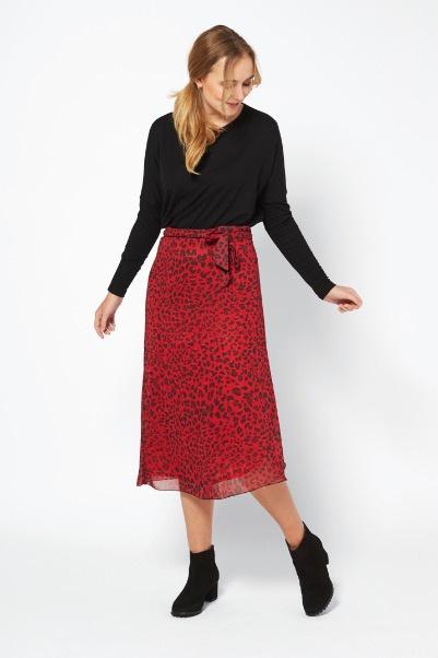 Ilse Jacobsen Skirt Deep Red Leopard Print