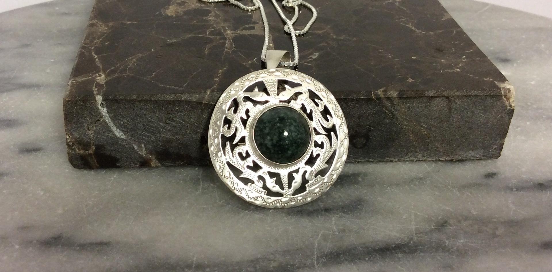 Vintage Sterling Silver and Greenstone Mandala Pendant/ Brooch