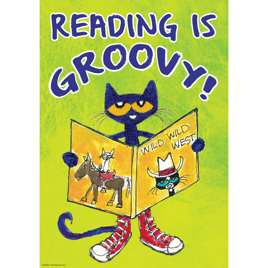 TCR 63929 PETE THE CAT READING IS GROOVY POSITIVE POSTER