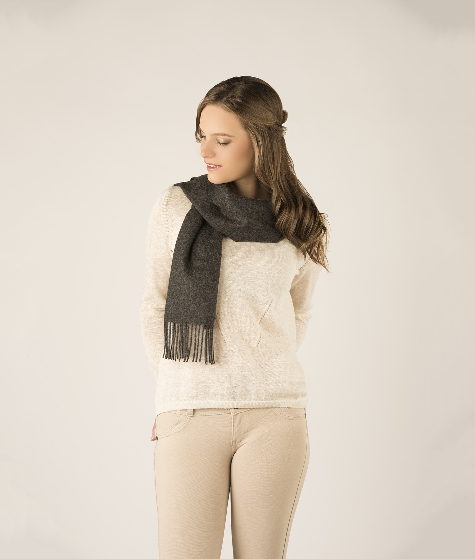 BRUSHED SCARF  CHARCOAL 403