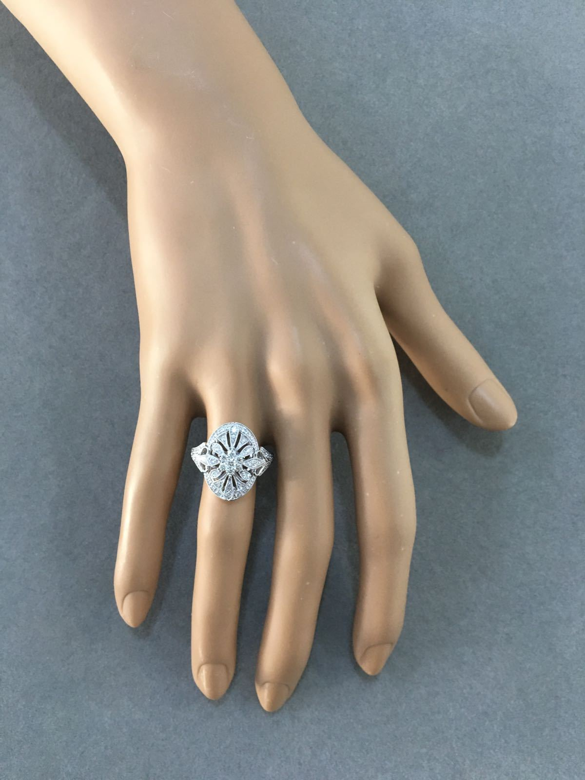 Oval Shaped Art-Deco Style Diamond Ring