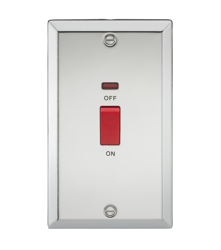 45A DP SWITCH W/NEON (DOUBLE SIZE) - BEVELLED EDGE POLISHED CHROME