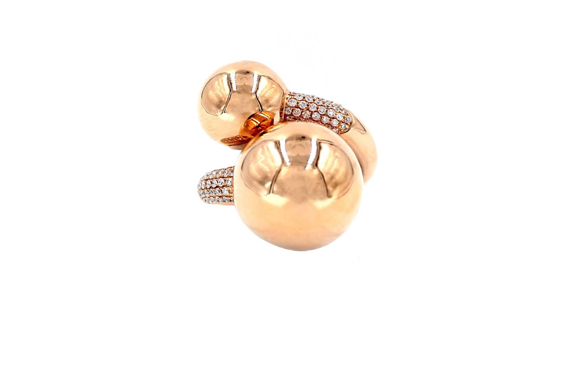 Intertwining Golden Globes Spheres Diamonds Ring