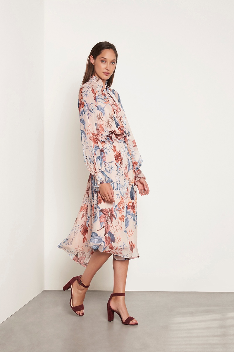 Arlington Milne Blouson Sleeve Silk Dress