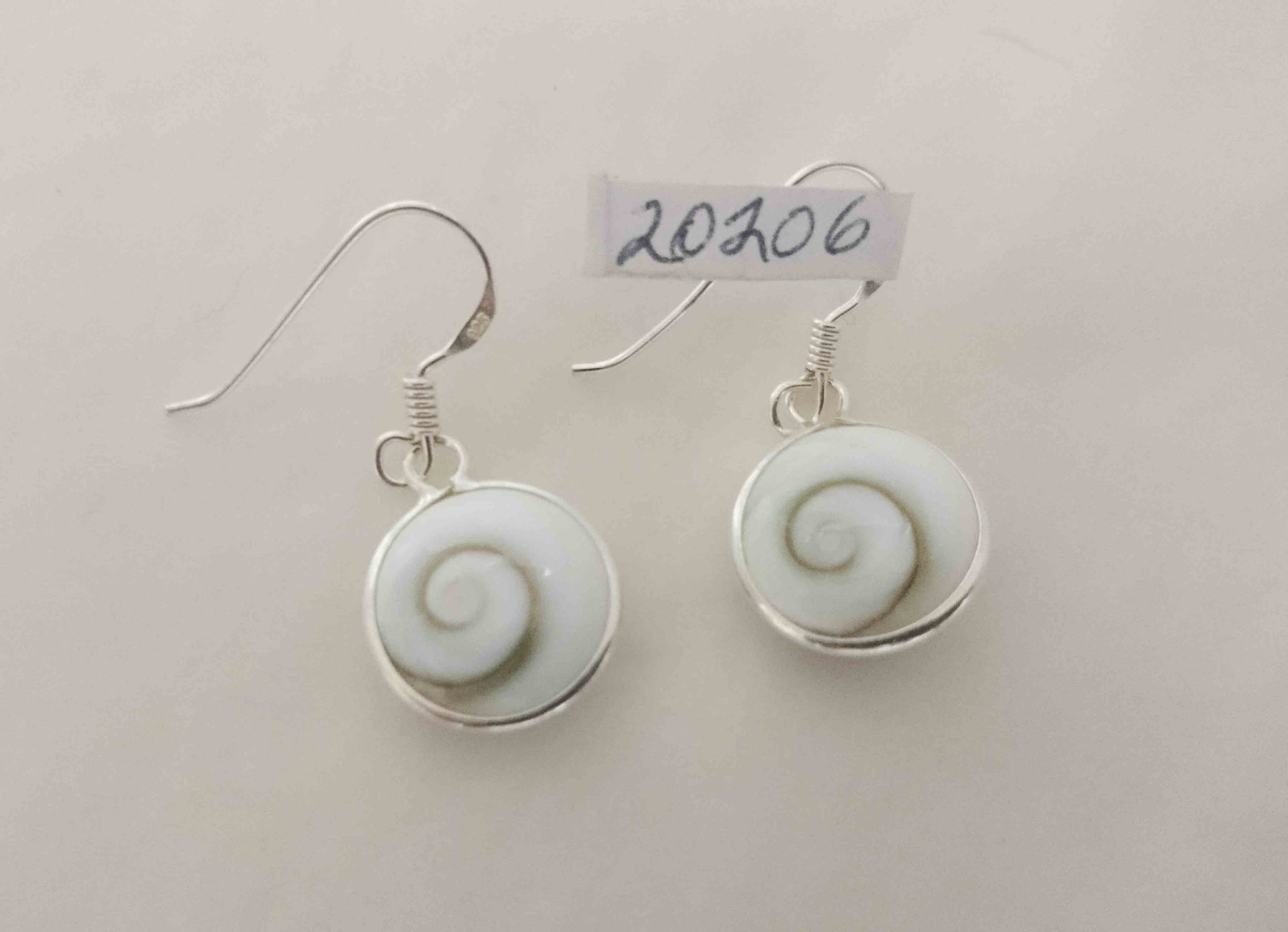 Earring Spiral Cats Eye 12mm Round Stg Silver