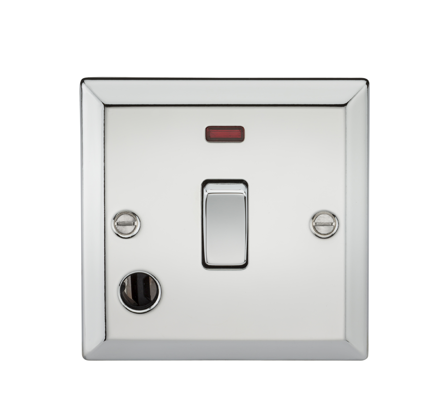 20A 1G DP SWITCH W/NEON & FLEX OUTLET - BEVELLED EDGE POLISHED CHROME