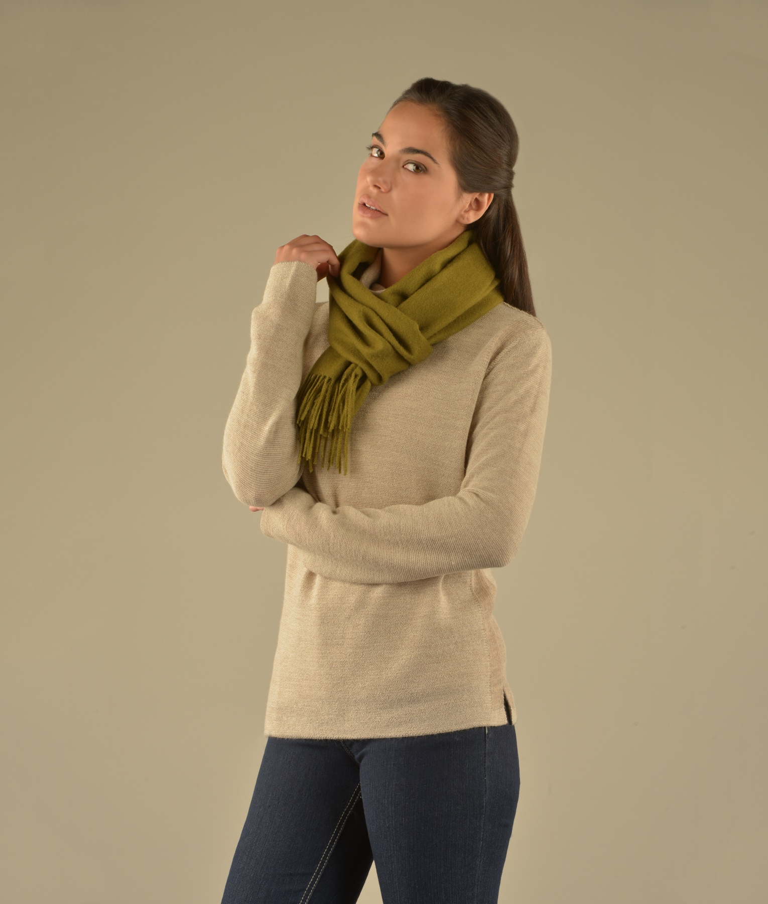 LONG BRUSHED SCARF OLIVE GREEN VR12964