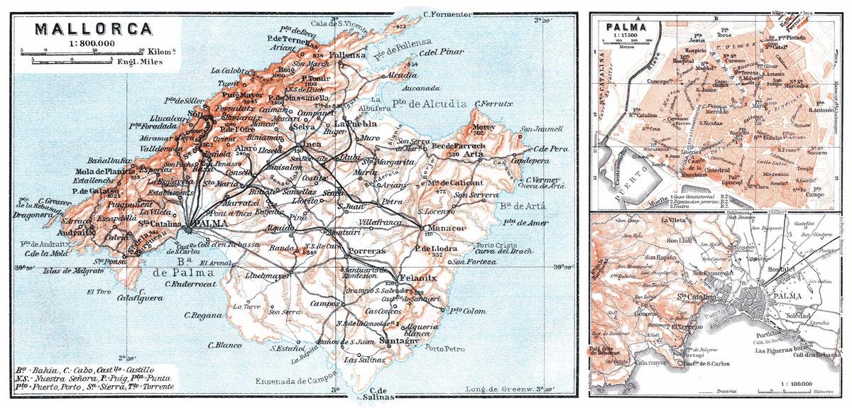 Mallorca Palma Triple Map | Print Only - Gallery Corner - Palma de ...